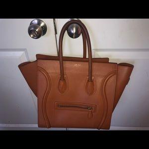 Celine micro luggage camel handbag
